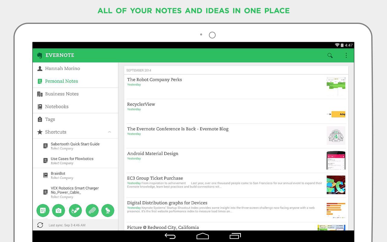 Вышел обновленный Evernote 6 для Android