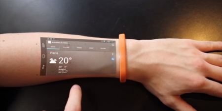 Создан браслет, превращающий руку в Android-смартфон